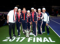 2017 Fed Cup Final: USA vs. Belarus, Shelby Rogers, Coco Vandeweghe, Alison Riske and Sloane Stephens, trophy