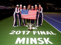 2017 Fed Cup Final: USA vs. Belarus, Shelby Rogers, Coco Vandeweghe, Alison Riske and Sloane Stephens, trophy, Amanda Korba
