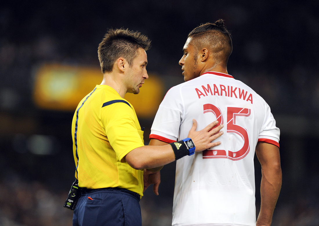 Quincy Amarikwa and referee Edvin Jurisevic, New York City FC vs San Jose Earthquakes