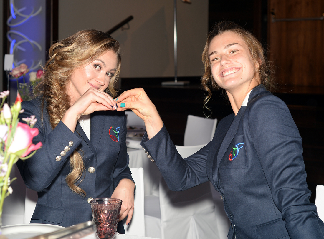 2017 Fed Cup Final: USA vs. Belarus, Official team dinner, Aryna Sabalenka and Aliaksandra Sasnovic