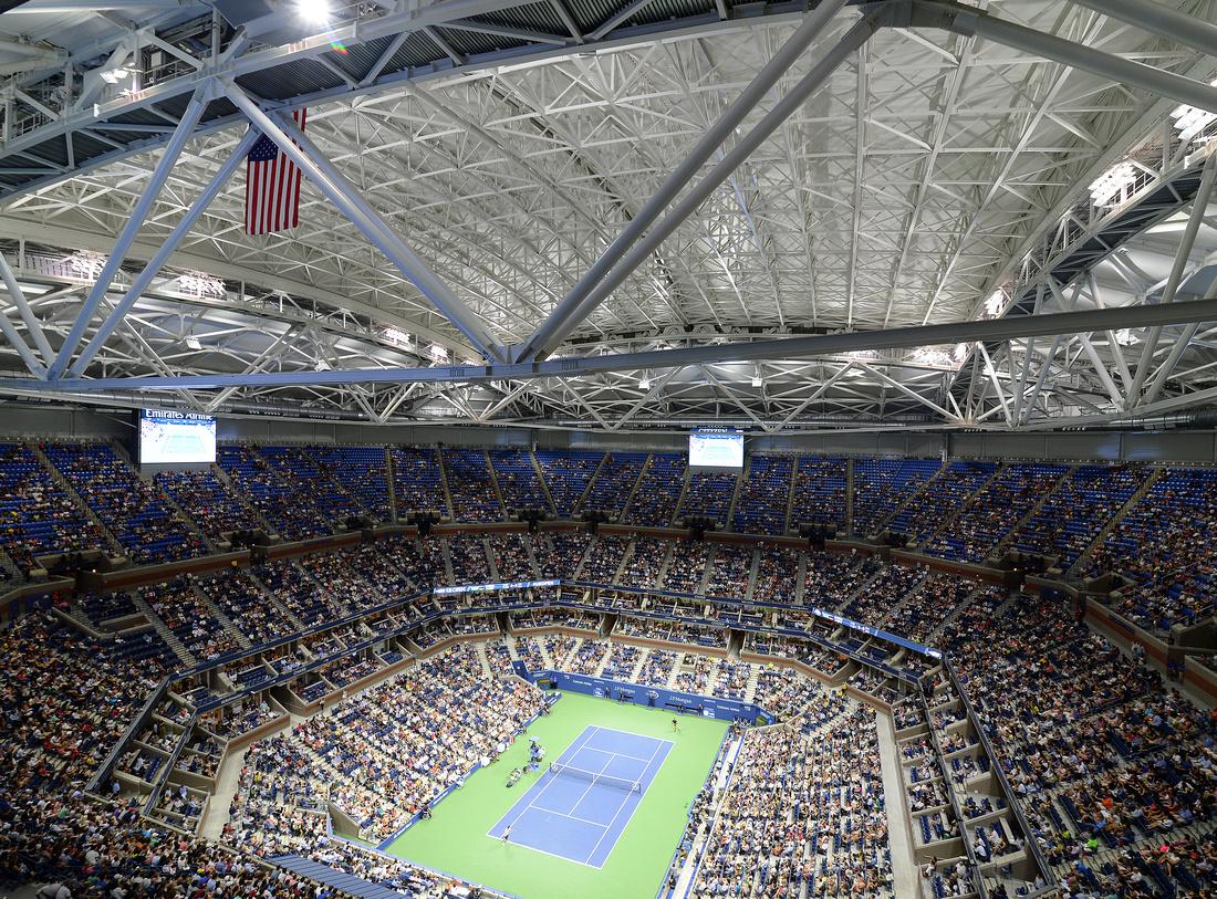 Arthur Ashe Stadium retractable roof closed, 2016 US Open